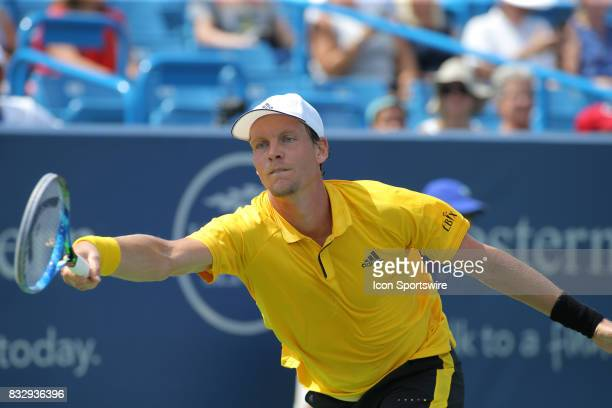 Tomas Berdych stretches for a ball during the Western Southern Open at the Lindner Family Tennis Center in Mason Ohio on August 15 2017