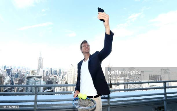Tomas Berdych takes a selfie during Laver Cup Team Announcement on August 23 2017 in New York City