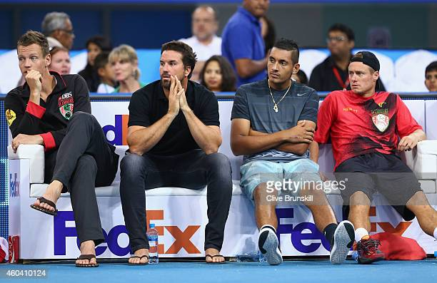 Tomas BerdychPatrick RafterNick Kyrgios and Lleyton Hewitt show their dejection as their team lose their final match to the Manila Mavericks during...