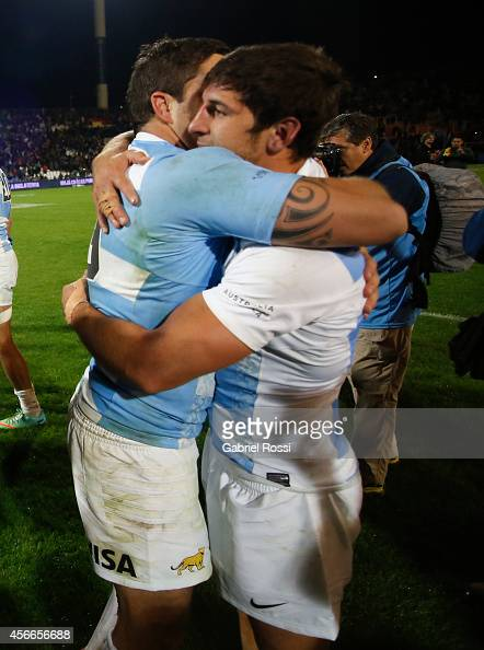 Tomas Cubelli of Argentina celebrates after winning a match between Argentina Los Pumas and Australia Wallabies as part of The Rugby Championship...