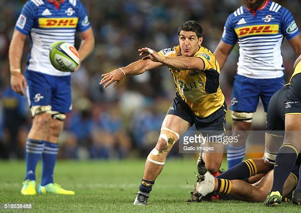 Tomas Cubelli of the Brumbies during the Super Rugby match between DHL Stormers and Brumbies at DHL Newlands Stadium on March 19 2016 in Cape Town...