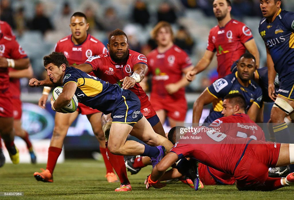 Tomas Cubelli of the Brumbies heads for the try line to score during the round 15 Super Rugby match between the Brumbies and the Reds at GIO Stadium on July 1, 2016 in Canberra, Australia.