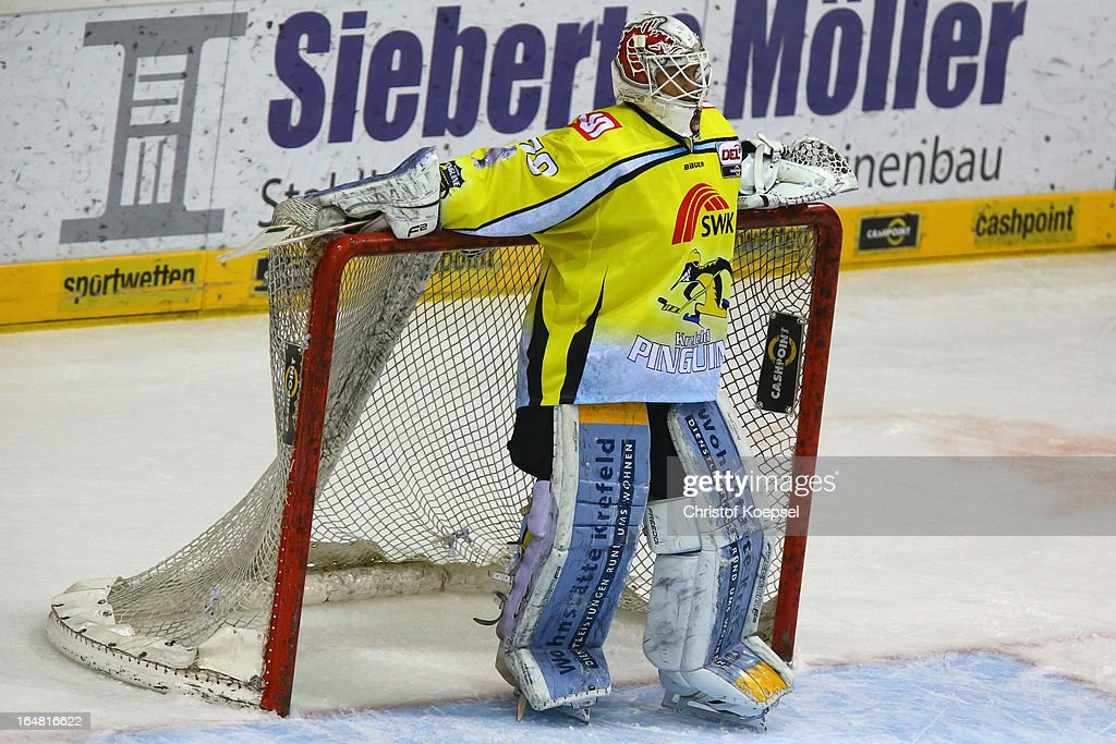 Tomas Duba of Krefeld Pinguine looks thoughtful during the fifth DEL Play-Off-match between Krefeld Pinguine and ERC Ingolstadt at Koenigspalast on March 28, 2013 in Wuppertal, Germany.