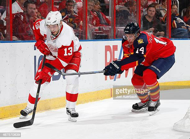 Tomas Fleischmann of the Florida Panthers attempts to take the puck from Pavel Datsyuk of the Detroit Red Wings at the BBT Center on February 6 2014...