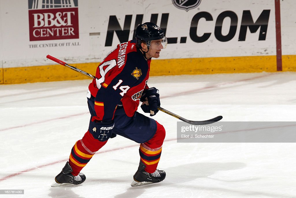 Tomas Fleischmann #14 of the Florida Panthers celebrates after scoring his 100th NHL goal against the Pittsburgh Penguins 6-4 at the BB&T Center on February 26, 2013 in Sunrise, Florida.