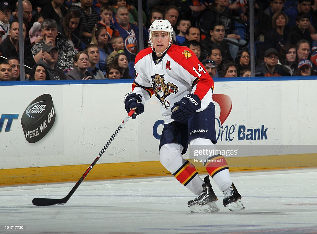 Tomas Fleischmann #14 of the Florida Panthers skates against the New York Islanders at the Nassau Veterans Memorial Coliseum on March 24, 2013 in Uniondale, New York.