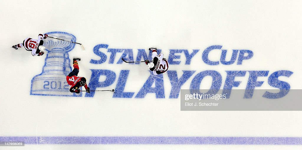 <a gi-track='captionPersonalityLinkClicked' href=/galleries/search?phrase=Tomas+Fleischmann&family=editorial&specificpeople=554398 ng-click='$event.stopPropagation()'>Tomas Fleischmann</a> #14 of the Florida Panthers skates with the puck against Travis Zajac #19 of the New Jersey Devils and teammate <a gi-track='captionPersonalityLinkClicked' href=/galleries/search?phrase=Alexei+Ponikarovsky&family=editorial&specificpeople=210628 ng-click='$event.stopPropagation()'>Alexei Ponikarovsky</a> #12 in Game Two of the Eastern Conference Quarterfinals during the 2012 NHL Stanley Cup Playoffs at the BankAtlantic Center on April 15, 2012 in Sunrise, Florida.