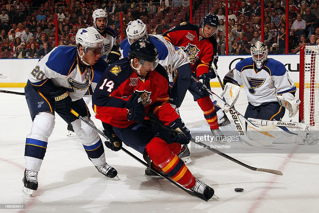 Tomas Fleischmann #14 of the Florida Panthers tangles with Alexander Steen #20 of the St Louis Blues at the BB&T Center on November 1, 2013 in Sunrise, Florida.