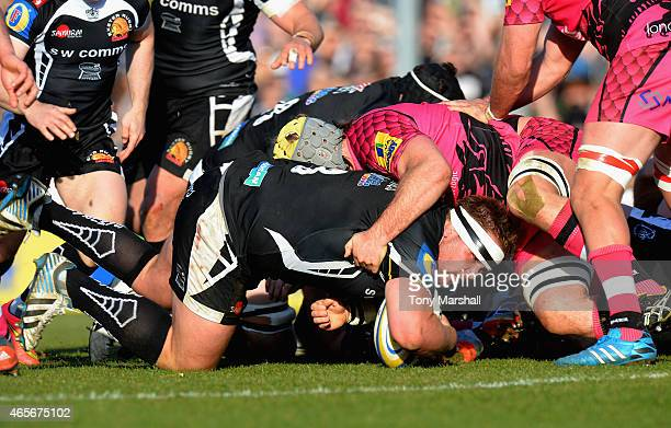 Tomas Francis of Exeter Chiefs is stopped just short of the try line during the Aviva Premiership match between Exeter Chiefs and London Welsh at...