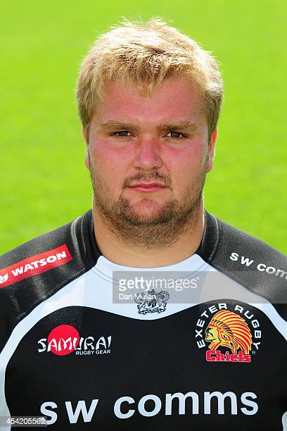 Tomas Francis of Exeter Chiefs poses during the photocall at Sandy Park on AUGUST 26 2014 in Exeter England