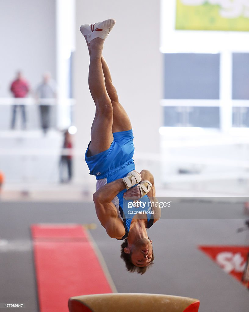 <a gi-track='captionPersonalityLinkClicked' href=/galleries/search?phrase=Tomas+Gonzalez&family=editorial&specificpeople=3196351 ng-click='$event.stopPropagation()'>Tomas Gonzalez</a> of Chile competes in the Men's Vault during day five of the X South American Games Santiago 2014 at Gimnasio Polideportivo Estadio Nacional on March 11, 2014 in Santiago, Chile.