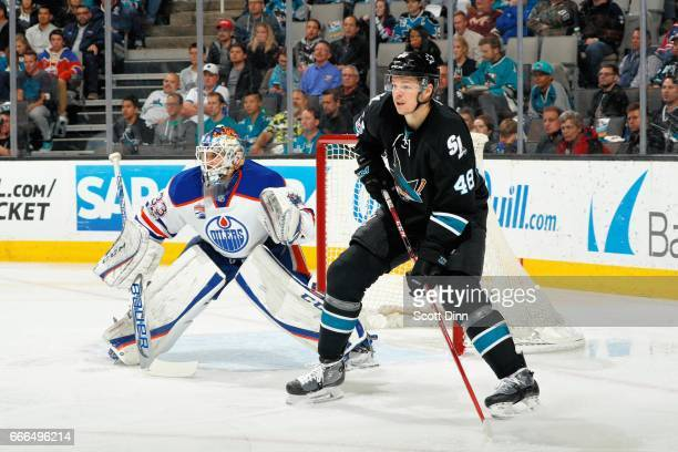 Tomas Hertl of the San Jose Sharks and Cam Talbot of the Edmonton Oilers look on during a NHL game at SAP Center at San Jose on April 6 2017 in San...