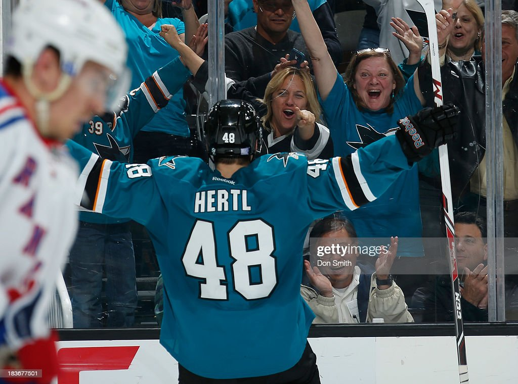 Tomas Hertl #48 of the San Jose Sharks celebrates a goal against the New York Rangers during an NHL game on October 8, 2013 at SAP Center in San Jose, California.