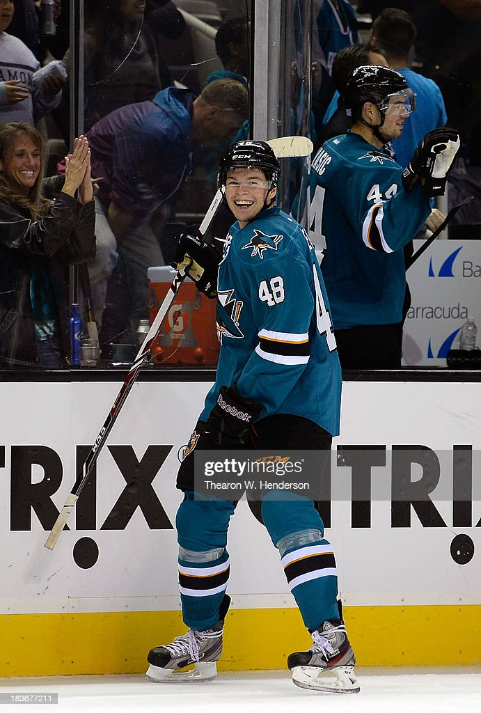 <a gi-track='captionPersonalityLinkClicked' href=/galleries/search?phrase=Tomas+Hertl&family=editorial&specificpeople=8761287 ng-click='$event.stopPropagation()'>Tomas Hertl</a> #48 of the San Jose Sharks celebrates after he scored his fourth goal of the game during the third period against the New York Rangers at SAP Center on October 8, 2013 in San Jose, California. The Sharks won the game 9-2.
