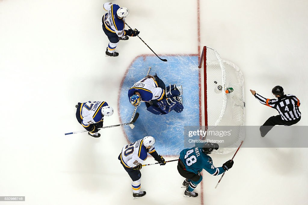 Tomas Hertl #48 of the San Jose Sharks celebrates after his second goal against Brian Elliott #1 of the St. Louis Blues in game three of the Western Conference Finals during the 2016 NHL Stanley Cup Playoffs at SAP Center on May 19, 2016 in San Jose, California.