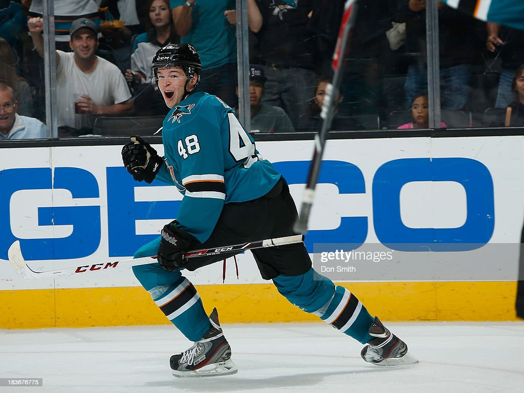 <a gi-track='captionPersonalityLinkClicked' href=/galleries/search?phrase=Tomas+Hertl&family=editorial&specificpeople=8761287 ng-click='$event.stopPropagation()'>Tomas Hertl</a> #48 of the San Jose Sharks celebrates his goal against the New York Rangers during an NHL game on October 8, 2013 at SAP Center in San Jose, California.