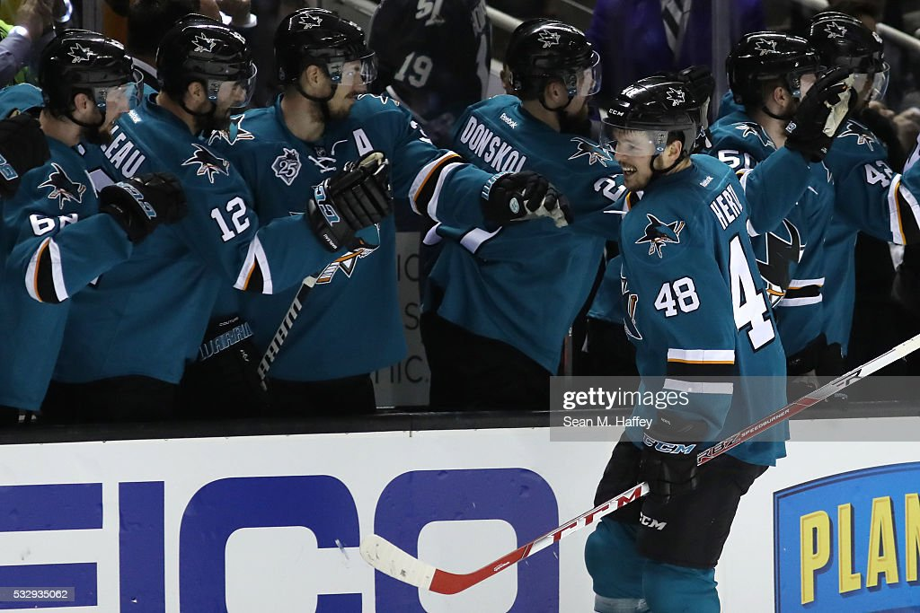 Tomas Hertl of the San Jose Sharks celebrates his goal in the first period against the St Louis Blues in game three of the Western Conference Finals...