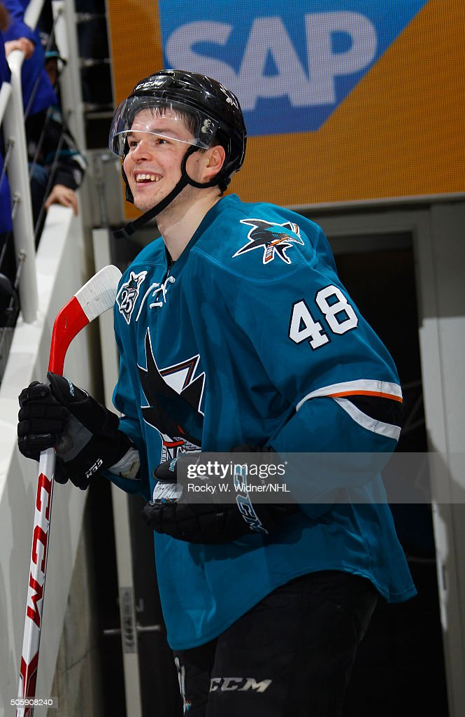 <a gi-track='captionPersonalityLinkClicked' href=/galleries/search?phrase=Tomas+Hertl&family=editorial&specificpeople=8761287 ng-click='$event.stopPropagation()'>Tomas Hertl</a> #48 of the San Jose Sharks looks on after scoring the winning goal against the Dallas Stars at SAP Center on January 16, 2016 in San Jose, California.