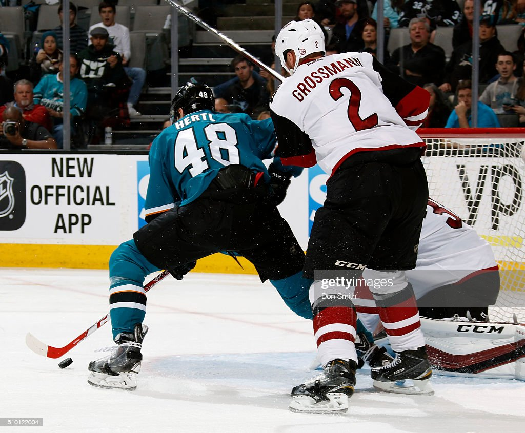 Tomas Hertl #48 of the San Jose Sharks sets up for a shot in front of the net against the Arizona Coyotes during a NHL game at the SAP Center at San Jose on February 13, 2016 in San Jose, California.