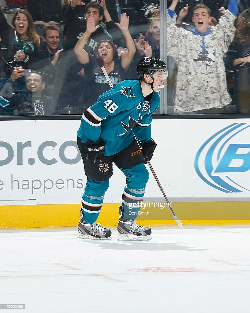 <a gi-track='captionPersonalityLinkClicked' href=/galleries/search?phrase=Tomas+Hertl&family=editorial&specificpeople=8761287 ng-click='$event.stopPropagation()'>Tomas Hertl</a> #48 of the San Jose Sharks skates after the puck against the Los Angeles Kings during an NHL game on November 27, 2013 at SAP Center in San Jose, California.