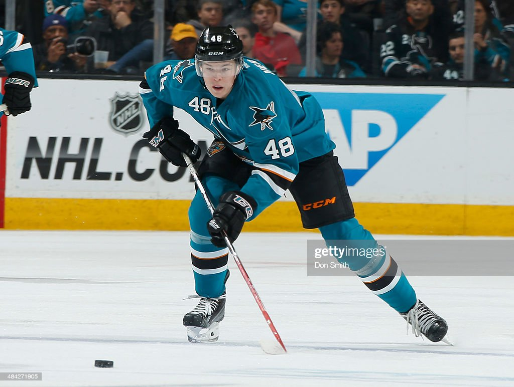 <a gi-track='captionPersonalityLinkClicked' href=/galleries/search?phrase=Tomas+Hertl&family=editorial&specificpeople=8761287 ng-click='$event.stopPropagation()'>Tomas Hertl</a> #48 of the San Jose Sharks skates after the puck in his first game back from injury against the Colorado Avalanche during an NHL game on April 11, 2014 at SAP Center in San Jose, California.