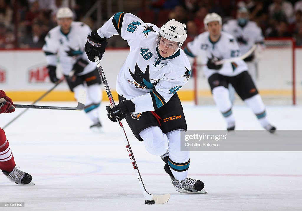 <a gi-track='captionPersonalityLinkClicked' href=/galleries/search?phrase=Tomas+Hertl&family=editorial&specificpeople=8761287 ng-click='$event.stopPropagation()'>Tomas Hertl</a> #48 of the San Jose Sharks skates with the puck during the preseason NHL game against the Phoenix Coyotes at Jobing.com Arena on September 27, 2013 in Glendale, Arizona.