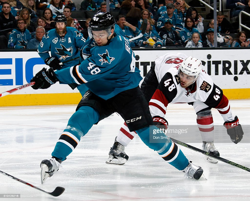 Tomas Hertl #48 of the San Jose Sharks slaps the puck against the Arizona Coyotes during a NHL game at the SAP Center at San Jose on February 13, 2016 in San Jose, California.