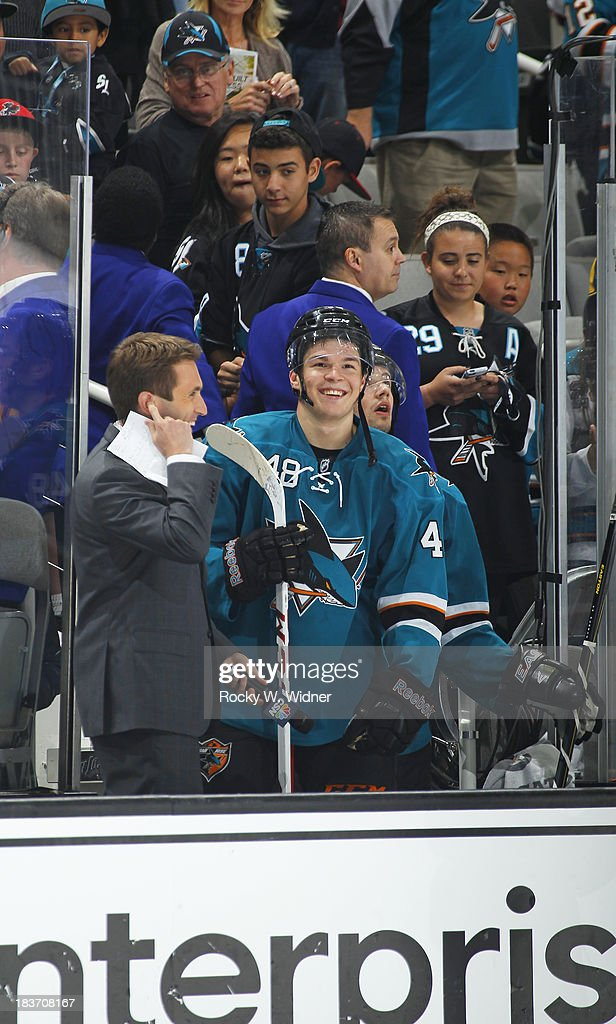 <a gi-track='captionPersonalityLinkClicked' href=/galleries/search?phrase=Tomas+Hertl&family=editorial&specificpeople=8761287 ng-click='$event.stopPropagation()'>Tomas Hertl</a> #48 of the San Jose Sharks smiles from the bench during the game against the Phoenix Coyotes at SAP Center on October 5 2013 in San Jose, California. The Sharks defeated the Coyotes 4-1.