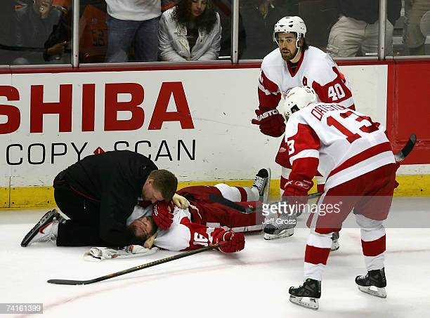 Tomas Holmstrom of the Detroit Red Wings is looked at by the team trainer after being hit by Chris Pronger and Rob Niedermayer of the Anaheim Ducks...