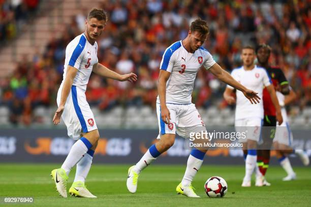 Tomas Kalas and Jakub Brabec of the Czech Republic in action during the International Friendly match between Belgium and Czech Republic at Stade Roi...