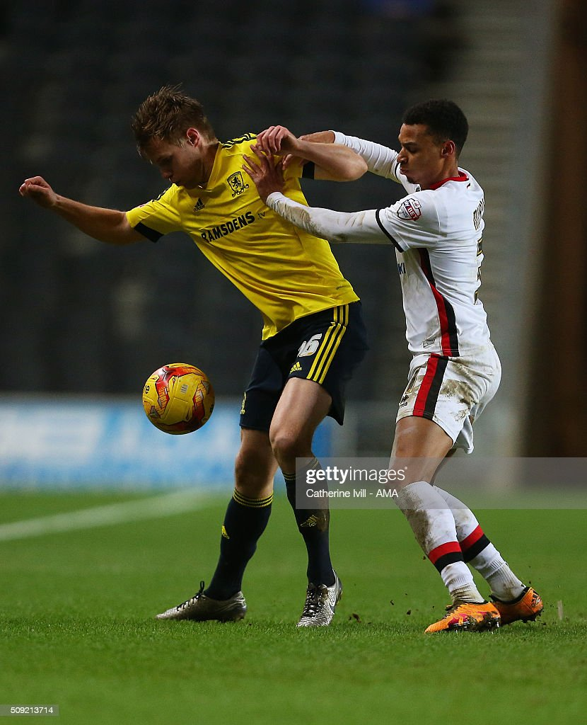 Tomas Kalas of Middlesbrough and Josh Murphy of MK Dons during the Sky Bet Championship match between MK Dons and Middlesbrough at Stadium mk on February 9, 2016 in Milton Keynes, England.