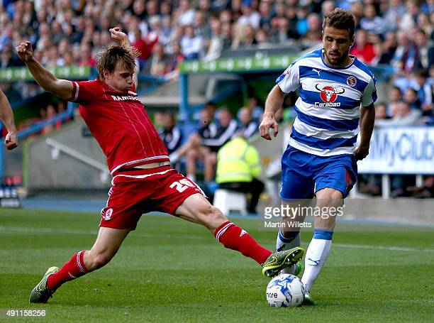 Tomas Kalas of Middlesbrough dives in to tackle Orlando Sa of Reading during the Sky Bet Championship match between Reading and Middlesbrough at...