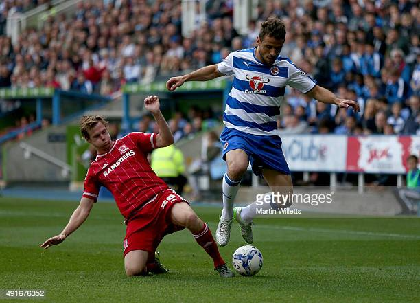 Tomas Kalas of Middlesbrough slides in to tackle Orlando Sa of Reading during the Sky Bet Championship match between Reading and Middlesbrough at...