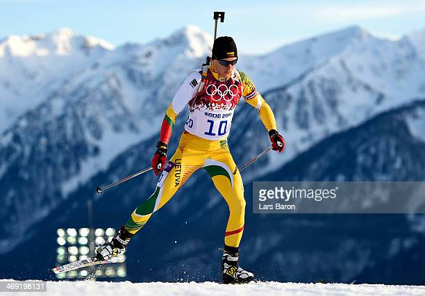 Tomas Kaukenas of Lithuania competes in the Men's Individual 20 km during day six of the Sochi 2014 Winter Olympics at Laura Crosscountry Ski...