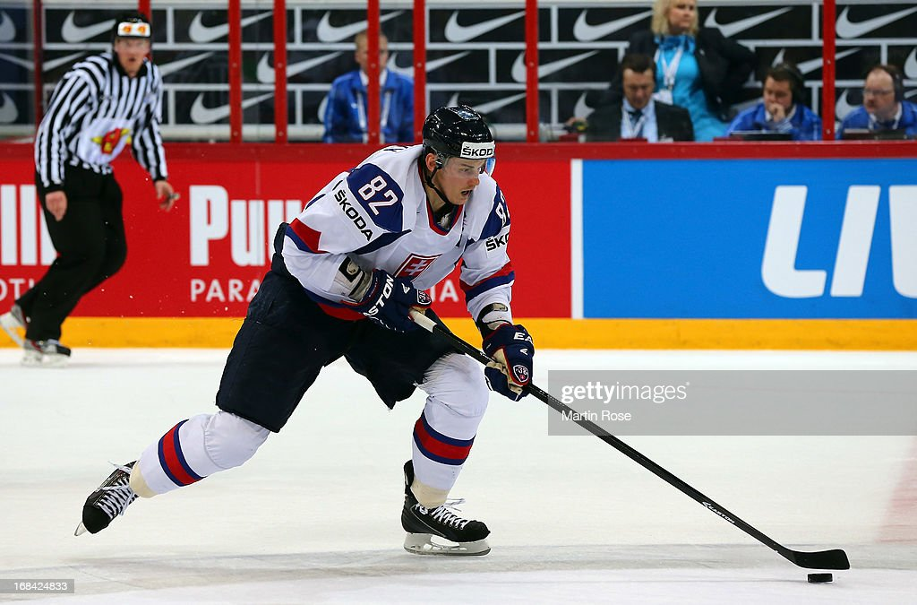 Tomas Kopecky of Slovakia skates with the puck during the IIHF World Championship group H match between Russia and France at Hartwall Areena on May 9, 2013 in Helsinki, Finland.
