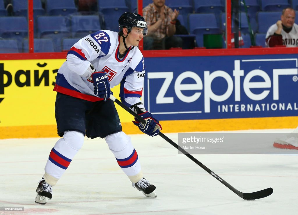 Tomas Kopecky of Slovakia skates with the puck during the IIHF World Championship group H match between Russia and France at Hartwall Areena on May 9...
