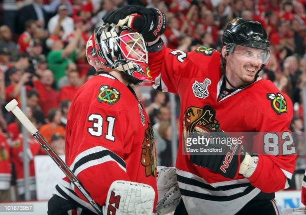 Tomas Kopecky of the Chicago Blackhawks celebrates their 74 win with goaltender Antti Niemi after Game Five of the 2010 NHL Stanley Cup Finals...