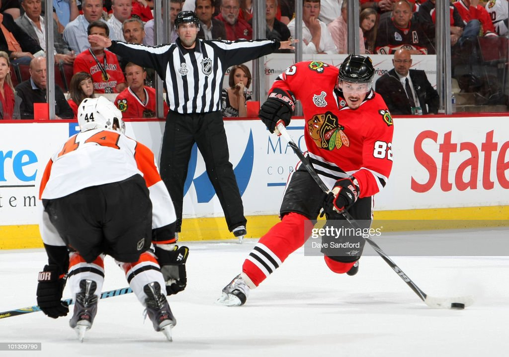 Tomas Kopecky of the Chicago Blackhawks lines up for a slapshot past Kimmo Timonen of the Philadelphia Flyers during the second period of Game Two of...