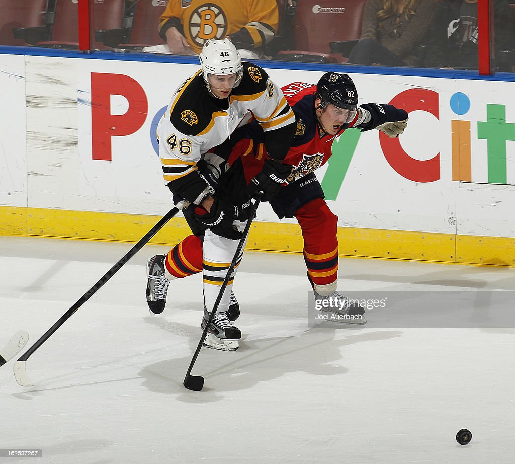 Tomas Kopecky #82 of the Florida Panthers blocks the attempt by David Krejci #46 of the Boston Bruins to reach the loose puck at the BB&T Center on February 24, 2013 in Sunrise, Florida. The Bruins defeated the Panthers 4-1.