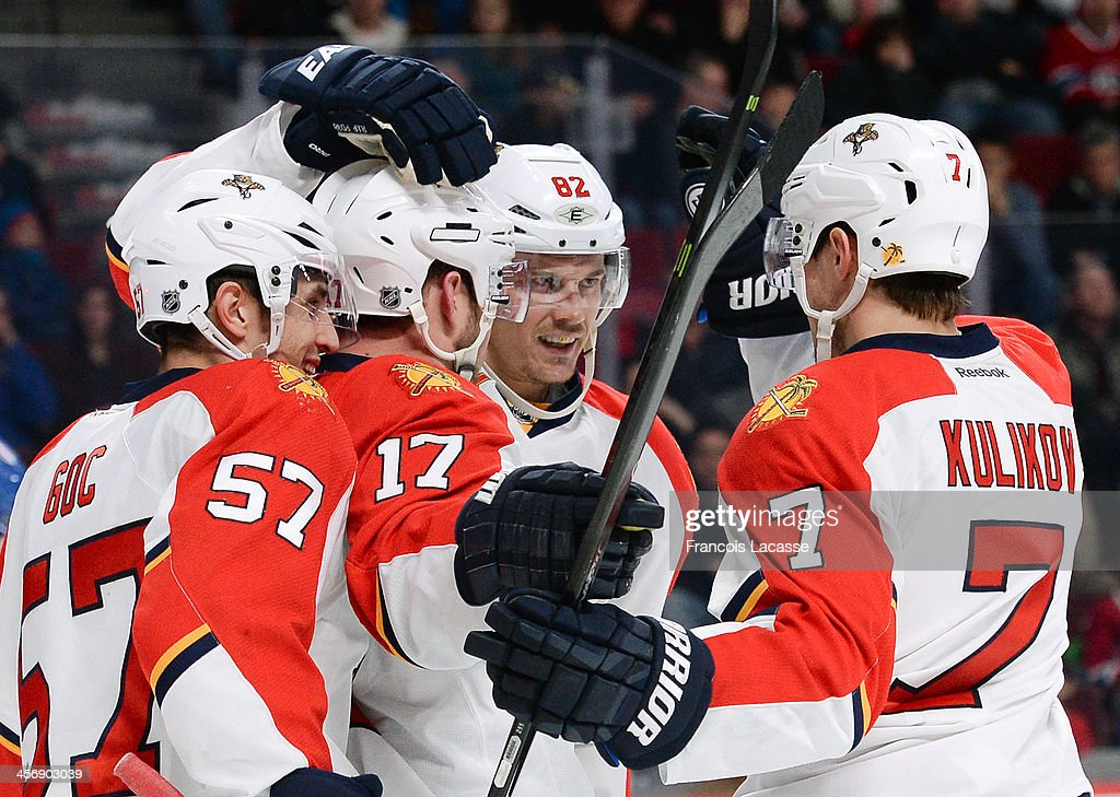 Tomas Kopecky #82 of the Florida Panthers celebrates after scoring a goal against the Montreal Canadiens during the NHL game on December 15, 2013 at the Bell Centre in Montreal, Quebec, Canada.