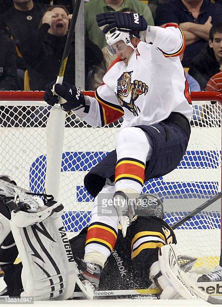Tomas Kopecky of the Florida Panthers celebrates his game winning goal in the third period ovoer Tim Thomas of the Boston Bruins on December 8 2011...