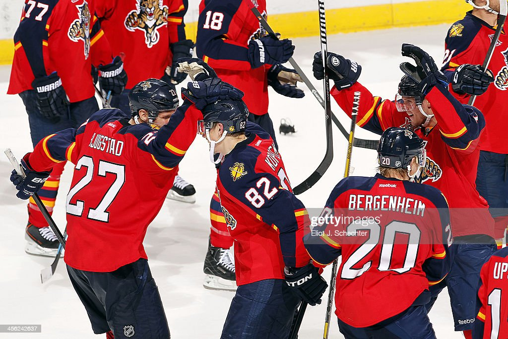 Tomas Kopecky #82 of the Florida Panthers celebrates their shoot out win with teammate Nick Bjugstad #27 against the Washington Capitals at the BB&T Center on December 13, 2013 in Sunrise, Florida.