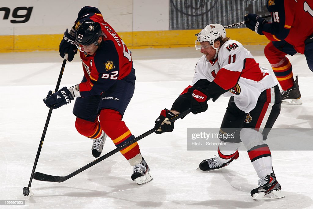 <a gi-track='captionPersonalityLinkClicked' href=/galleries/search?phrase=Tomas+Kopecky&family=editorial&specificpeople=2234349 ng-click='$event.stopPropagation()'>Tomas Kopecky</a> #82 of the Florida Panthers crosses sticks with <a gi-track='captionPersonalityLinkClicked' href=/galleries/search?phrase=Daniel+Alfredsson&family=editorial&specificpeople=201853 ng-click='$event.stopPropagation()'>Daniel Alfredsson</a> #11 of the Ottawa Senators at the BB&T Center on January 24, 2013 in Sunrise, Florida.