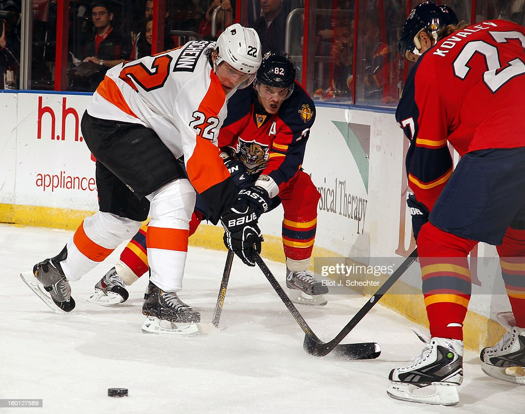 Tomas Kopecky #82 of the Florida Panthers digs the puck out from the boards against Luke Schenn #22 of the Philadelphia Flyers at the BB&T Center on January 26, 2013 in Sunrise, Florida.