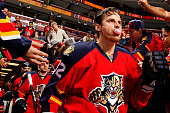 Tomas Kopecky of the Florida Panthers heads out to the ice prior to the start of the game against the Los Angeles Kings at the BBT Center on February...