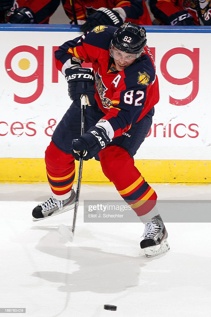 Tomas Kopecky #82 of the Florida Panthers passes the puck against the Pittsburgh Penguins at the BB&T Center on April 13, 2013 in Sunrise, Florida.