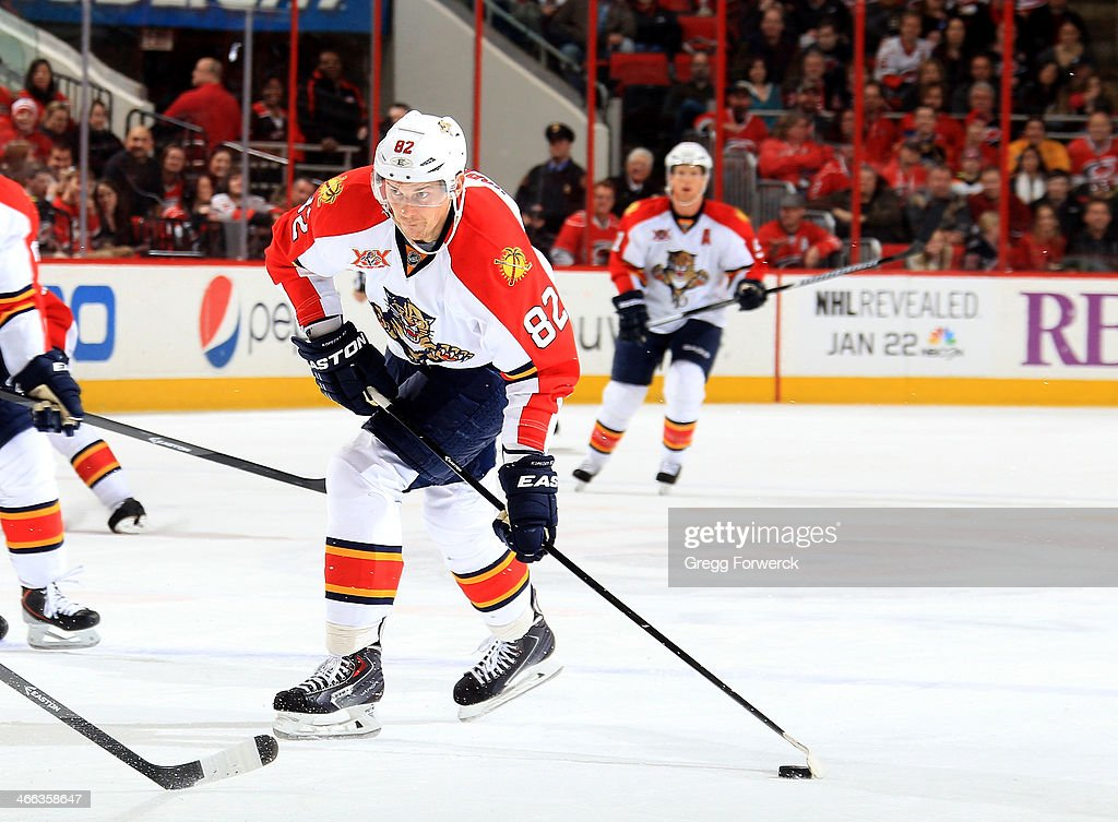 Tomas Kopecky of the Florida Panthers prepares to shoot the puck during their NHL game against the Carolina Hurricanes at PNC Arena on January 18...