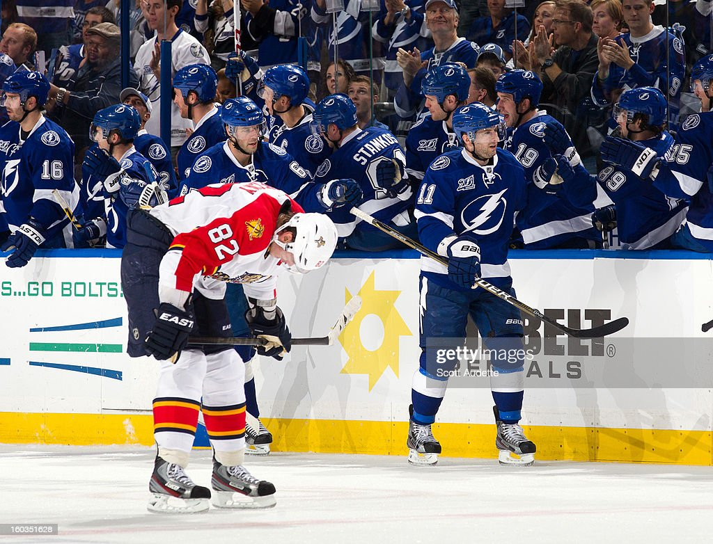 Tomas Kopecky #82 of the Florida Panthers reacts as members of the Tampa Bay Lightning, including Benoit Pouliot #67 and Tom Pyatt #11 celebrate a goal at the Tampa Bay Times Forum on January 29, 2013 in Tampa, Florida.