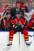 Tomas Kopecky of the Florida Panthers sits on the boards during a break in the action against the Toronto Maple Leafs at the BBT Center on February 4...