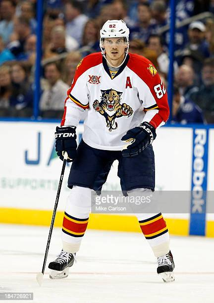 Tomas Kopecky of the Florida Panthers skates against the Tampa Bay Lightning at the Tampa Bay Times Forum on October 10 2013 in Tampa Florida